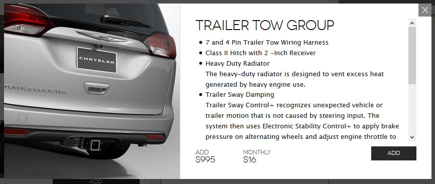 pacifica_towing towing capability is seems to be very limited for the pacifica Chrysler 2017 Pacifica Interior at bayanpartner.co