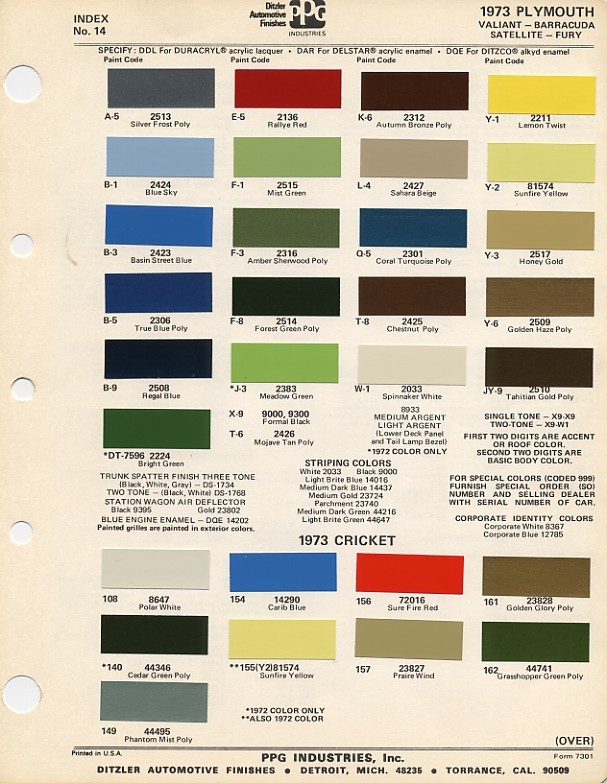 Fender Tag Decoder - 1969 camaro paint codes colors