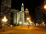 Looking down Wacker Drive towards Wrigley Building and Chicago Tribune