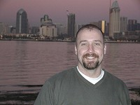 My friend Keith with San Diego skyline behind - January 2003.